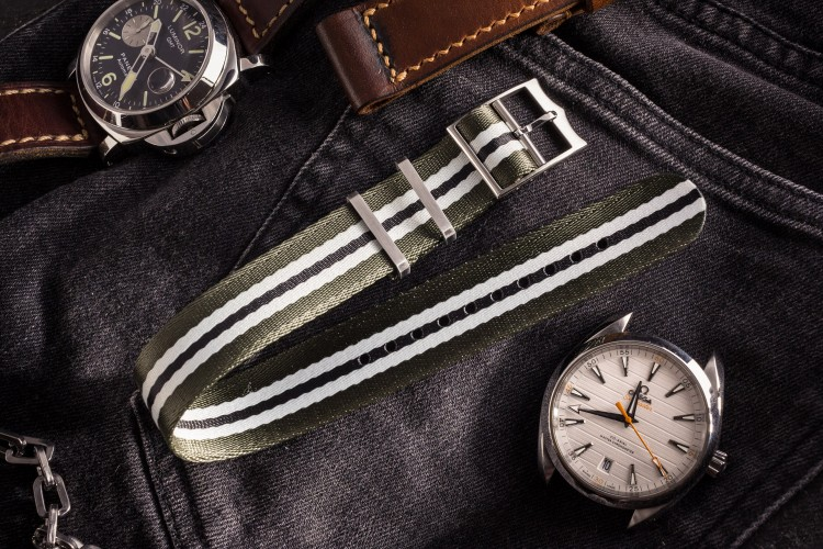 Oil Green, White and Black Adjustable Seat Belt Fabric Single Pass Slip Through Watch Strap (20 & 22mm) from STRAPSANDBRACELETS