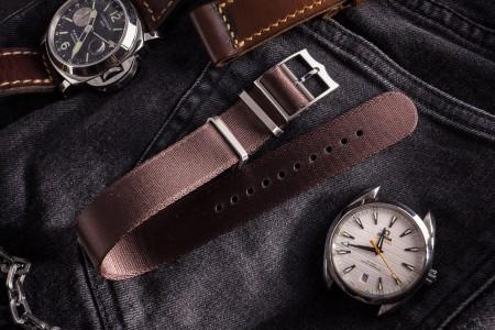 Brownish Maroon Adjustable Silky Seat Belt Fabric Single Pass Slip Through Watch Strap (20 & 22mm)