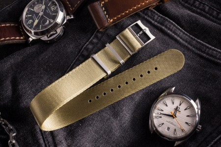 Khaki Adjustable Silky Seat Belt Fabric Single Pass Slip Through Watch Strap (20 & 22mm)