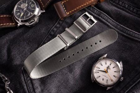 Grey Adjustable Silky Seat Belt Fabric Single Pass Slip Through Watch Strap (20 & 22mm)