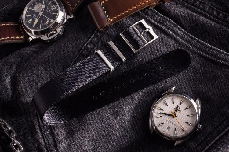 Black Adjustable Silky Seat Belt Fabric Single Pass Slip Through Watch Strap (20 & 22mm) from STRAPSANDBRACELETS