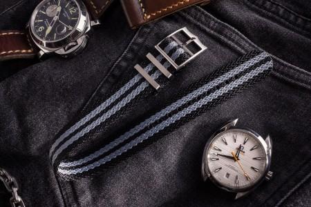 Bond - Black and Grey Retro, Herringbone Silky Fabric Adjustable Single Pass Slip Through Watch Strap (20 & 22mm)