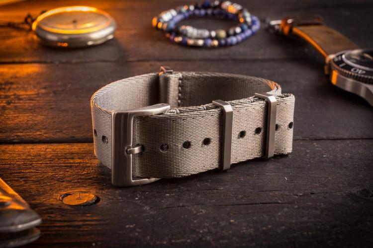Gray Premium Silky Seat Belt Slip Through Nato Watch Strap