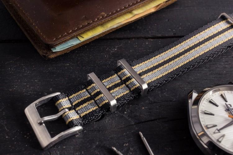 New Bond - Black, Beige and Gray Premium Seat Belt Slip Through Nato Watch Strap