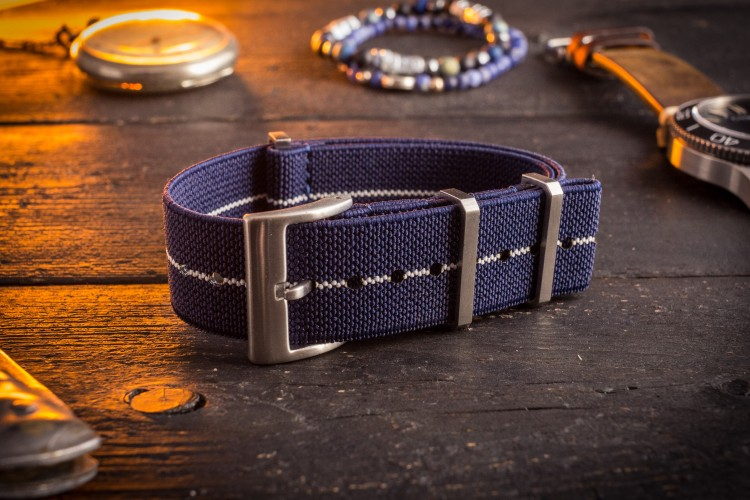 Navy Blue and White Elastic Material Slip Through Nato Watch Strap