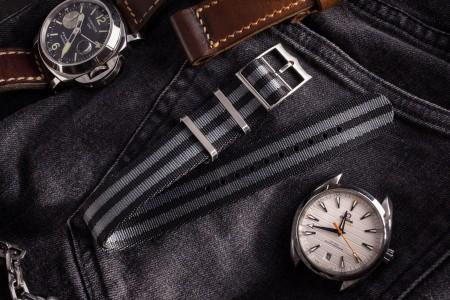 Bond - Black and Gray Adjustable Single Pass Slip Through Watch Strap (20mm)