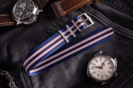 Captain America - Blue, Red and Gray Adjustable Silky Fabric Single Pass Slip Through Watch Strap (20 & 22mm)