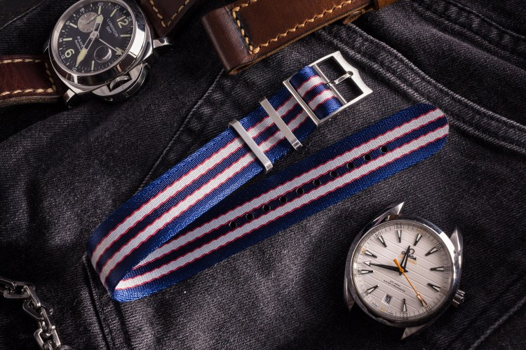Captain America - Blue, Red and Gray Adjustable Silky Fabric Single Pass Slip Through Watch Strap (20 & 22mm) from STRAPSANDBRACELETS