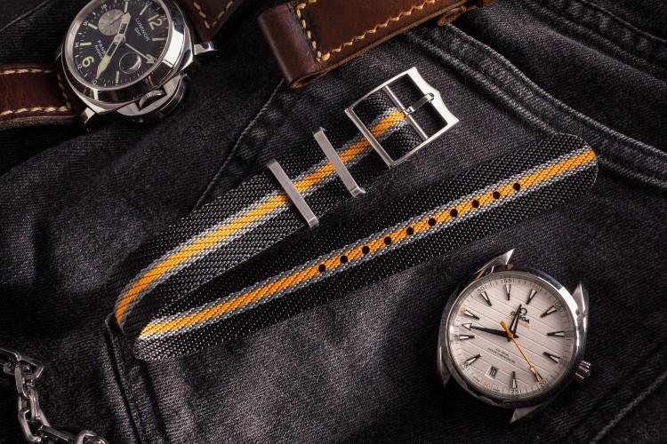 Black, Gray and Orange Adjustable Single Pass Slip Through Watch Strap (20 & 22mm) from STRAPSANDBRACELETS