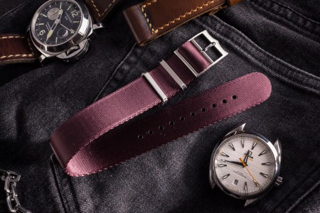 Burgundy Adjustable Silky Nylon Seat Belt Fabric Single Pass Slip Through Watch Strap (20 & 22mm)