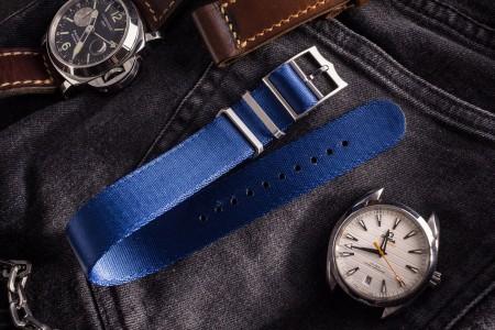 Ocean Blue Adjustable Silky Seat Belt Fabric Single Pass Slip Through Watch Strap (20 & 22mm)