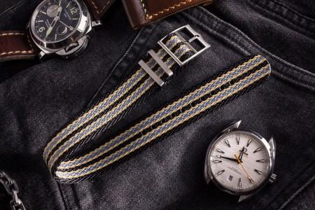 Bond - Black, Beige and Grey Retro, Herringbone Silky Fabric Adjustable Single Pass Slip Through Watch Strap (20 & 22mm)