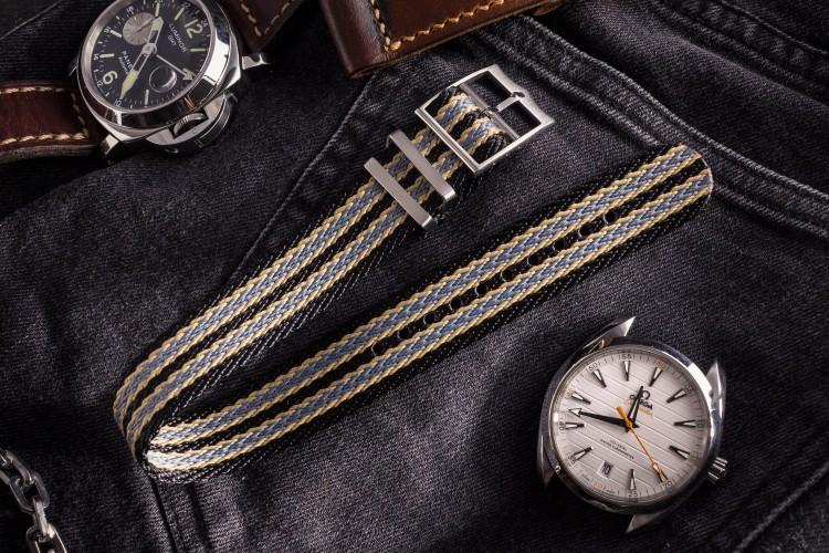 Bond - Black, Beige and Grey Retro, Herringbone Silky Fabric Adjustable Single Pass Slip Through Watch Strap (20 & 22mm) from STRAPSANDBRACELETS