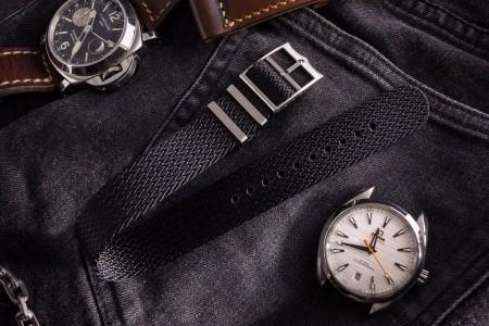 Black Retro, Herringbone Silky Fabric Adjustable Single Pass Slip Through Watch Strap (20 & 22mm)