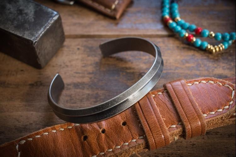 Benkig - Antiqued Stainless Steel Cuff Bangle Men's Bracelet from STRAPSANDBRACELETS
