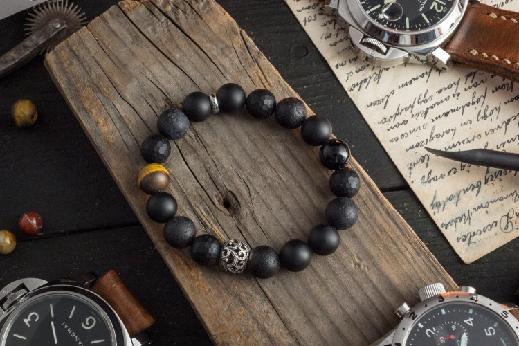 OCTOPUS III - 10mm -  Matte Black Onyx Beaded Stretchy Bracelet with Sterling Silver Octopus Bead from STRAPSANDBRACELETS