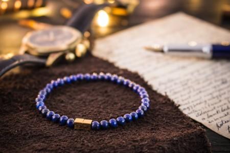 Fredrik - 4mm - Blue Lapis Lazuli Beaded Stretchy Bracelet with Gold Cube Beads