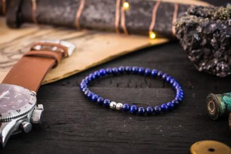 Zak - 4mm - Blue Lapis Lazuli Beaded Stretchy Bracelet with Sterling Silver Beads