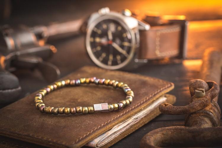 Fayzan - 4mm - Bronze Iris Beaded Stretchy Bracelet with Silver Cube Beads