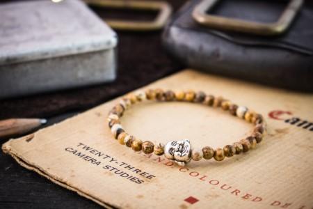 Fintan - 4mm - Brown Jasper Stone Beaded Stretchy Bracelet with Silver Buddha