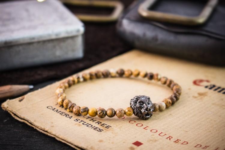 Semion - 4mm - Brown Jasper Stone Beaded Stretchy Lion Bracelet with Gunmetal Lion