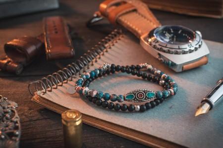 Darien - 4mm - Double Wrap Black Onyx & Ocean Jade Beaded Stretchy Bracelet with Sterling Silver Tag