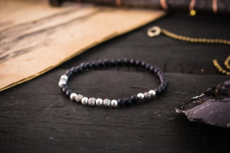 Finnick - 4mm - Faceted Matte Black Onyx Beaded Stretchy Bracelet with Sterling Silver Beads