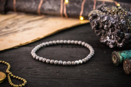 Cooper - 4mm - Faceted Matte Hematite Beaded Stretchy Bracelet with Sterling Silver Beads