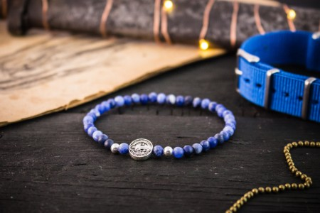 Allan - 4mm - Matte Sodalite Beaded Stretchy Bracelet with Sterling Silver Beads