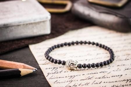 Caedan - 4mm - Matte Black Onyx Beaded Stretchy Bracelet with Silver Buddha