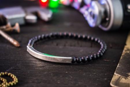 Baker - 4mm - Matte Black Onyx Beaded Stretchy Bracelet with Sterling Silver Tube Bead