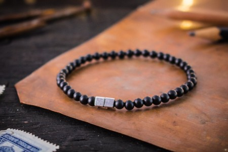Maks - 4mm - Matte Black Onyx Beaded Stretchy Bracelet with Silver Cube Beads