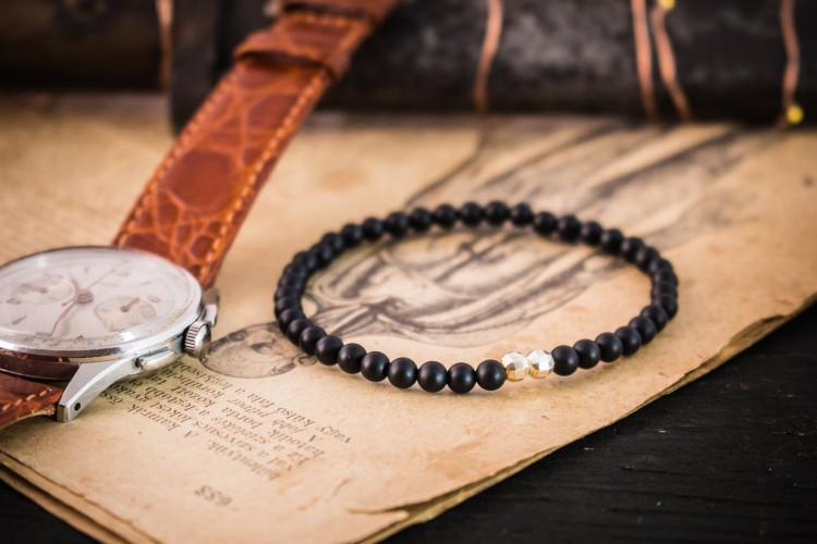 Devan - 4mm - Matte Black Onyx Beaded Stretchy Bracelet with Sterling Silver Beads