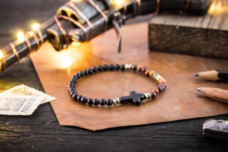 Dominik - 4mm - Matte Black Onyx & Picasso Jasper Beaded Stretchy Bracelet with Black Cross