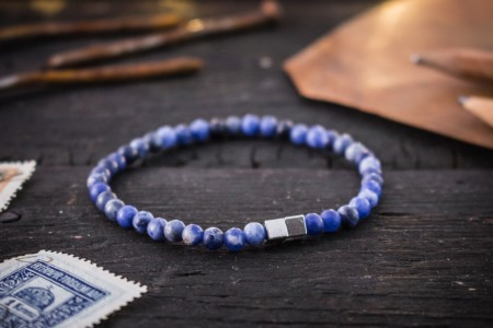 Nikodem - 4mm - Matte Blue Sodalite Beaded Stretchy Bracelet with Silver Cube Beads