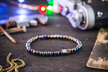 Millen - 4mm - Multicolor Hematite Beaded Stretchy Bracelet with Silver Cubic Beads