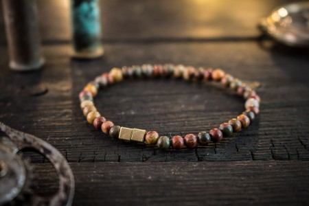 Layton - 4mm - Autumn Color Picasso Jasper Beaded Stretchy Bracelet With Gold Cube Beads