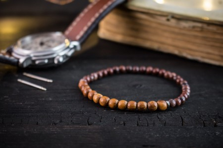 Connan - 4mm - Sandalwood & Red Jasper Beaded Stretchy Bracelet