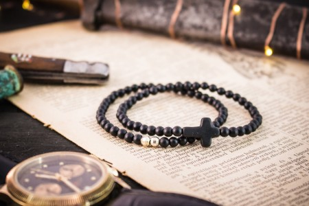 Kohen - 4mm - Set Of 2 - Matte Black Onyx Beaded Stretchy Bracelet with Sterling Silver Beads and Black Cross