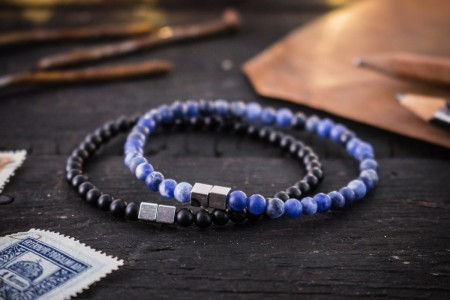 Dudley - 4mm - Set Of 2 -Matte Black Onyx & Sodalite Beaded Stretchy Bracelets with Silver Cube Beads