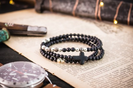 Ferguson - 4mm - Set Of 3 - Matte Black Onyx Beaded Stretchy Bracelets with Sterling Silver Beads and Black Cross