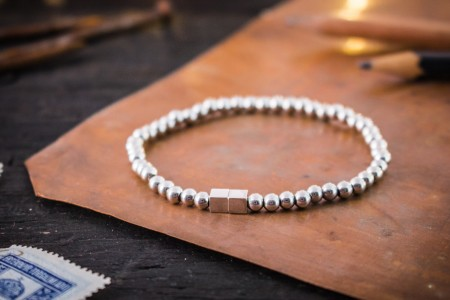 Lorenzo - 4mm - Stainless Steel Beaded Stretchy Bracelet with Silver Cube Beads
