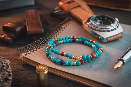 Adas - 4mm - Turquoise Beaded Stretchy Bracelet With Golden Beads