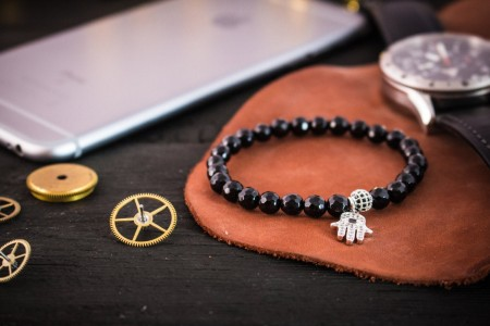 Braxx - 6mm - Black Faceted Onyx Beaded Stretchy Bracelet with Silver Micro Pave Hamsa Hand Charm