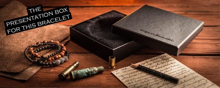 Harman - 6mm - Black Lava Stone Beaded Stretchy Bracelet with Silver Hamsa Hand from STRAPSANDBRACELETS