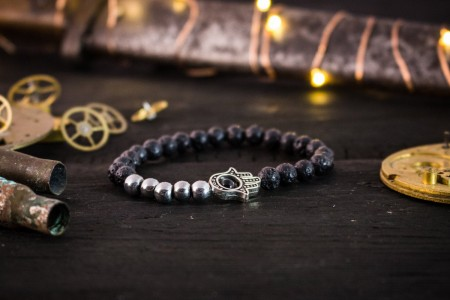 Harman - 6mm - Black Lava Stone Beaded Stretchy Bracelet with Silver Hamsa Hand