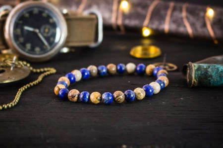 Milo - 6mm - Blue Lapis Lazuli & Brown Jasper Stone Beaded Stretchy Bracelet