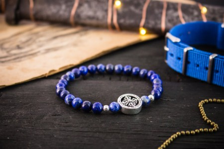 Riyan - 6mm - Blue Lapis Lazuli Beaded Stretchy Bracelet with Sterling Silver Beads