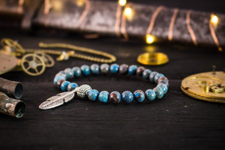 Charli - 6mm - Blue Crazy Lace Agate Beaded Stretchy Bracelet with Silver Feather