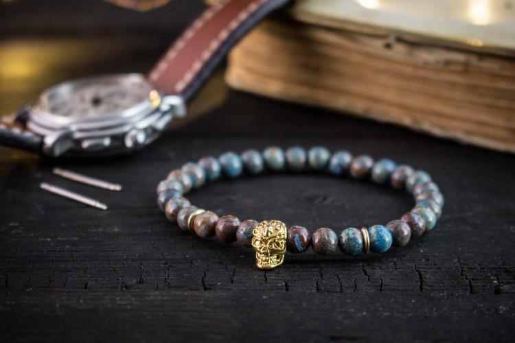 Alexandros - 6mm - Blue Crazy Lace Agate Beaded Stretchy Bracelet with Gold Skull from STRAPSANDBRACELETS